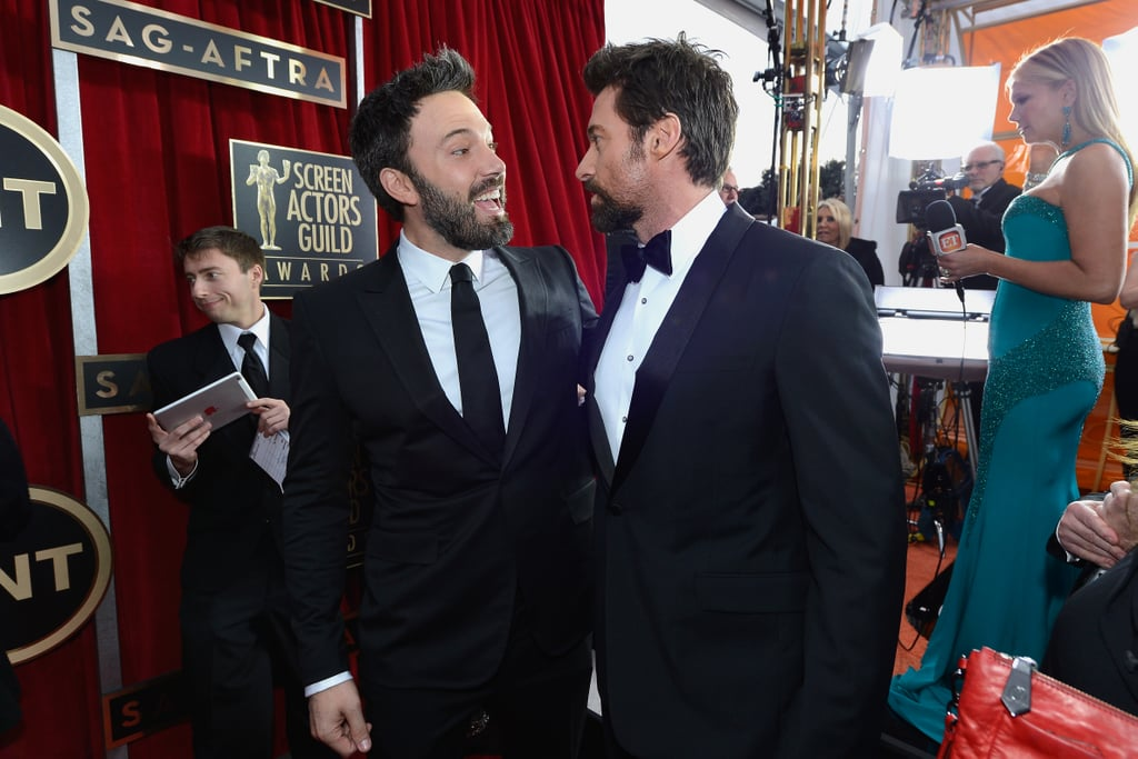 Ben Affleck and Hugh Jackman stopped for a chat on their way into the SAG Awards.
