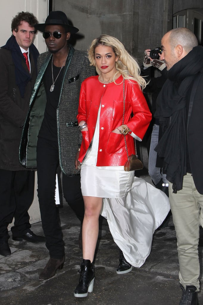 From this angle, you can see just how dramatic the high-low cut of Rita Ora's white dress was.