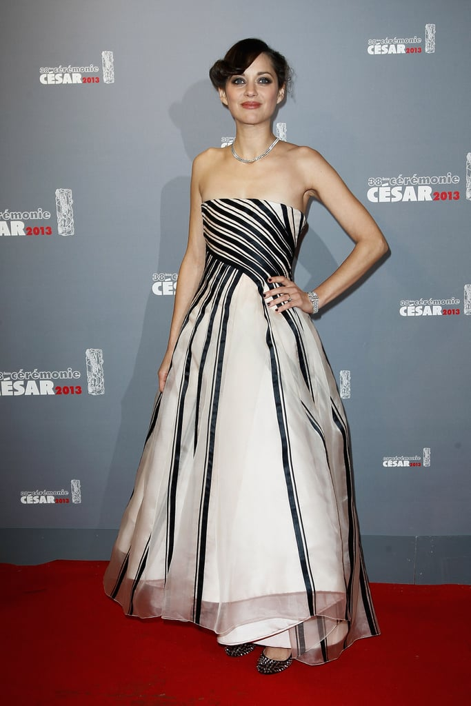 Marion Cotillard posed in a Dior gown.
