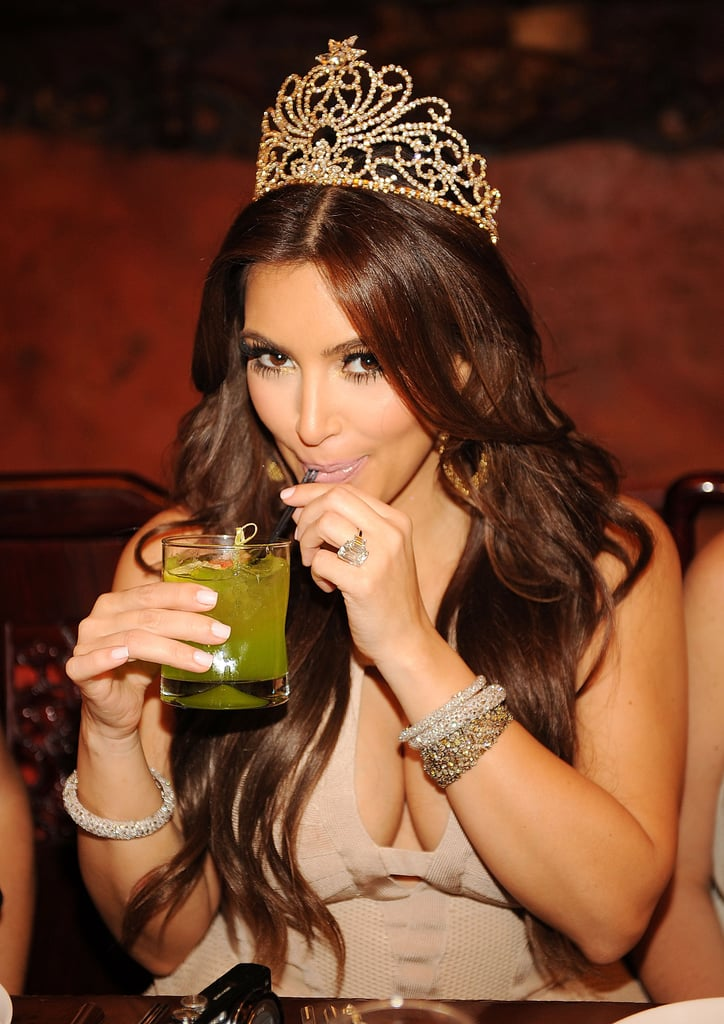 Kim Kardashian sipped cocktails and wore a tiara.