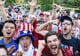 USA fans cheered after the team won its first game against Ghana.