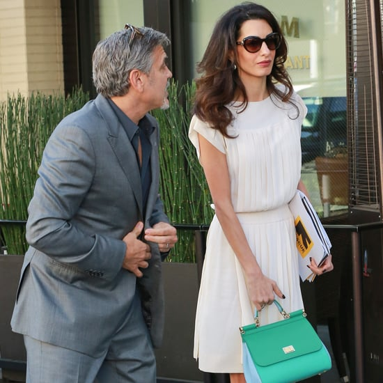 Amal Clooney Wearing a White Dress