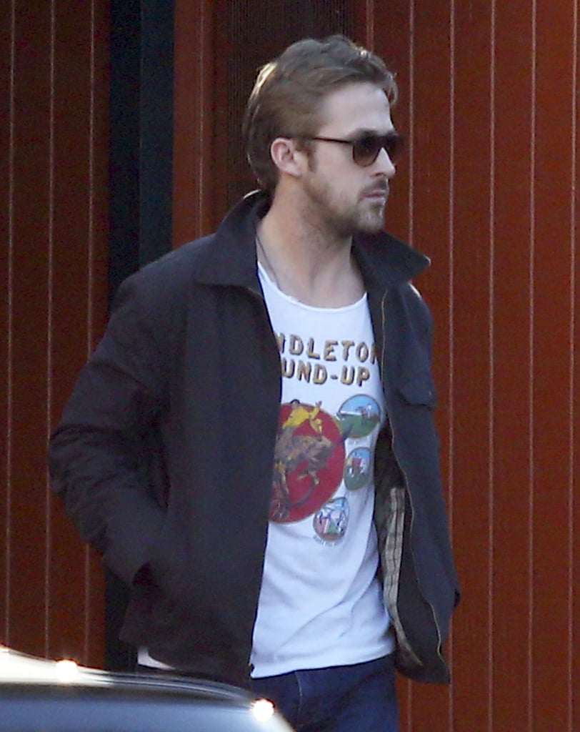 Ryan Gosling wore his sunglasses for lunch with a friend.