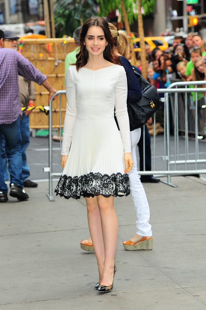Lily traded her sexier fare for a pretty Valentino fit-and-flare dress for an NYC appearance.