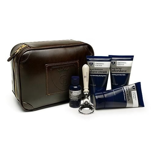 Grooming Lounge Stuffed Leather Travel Bag