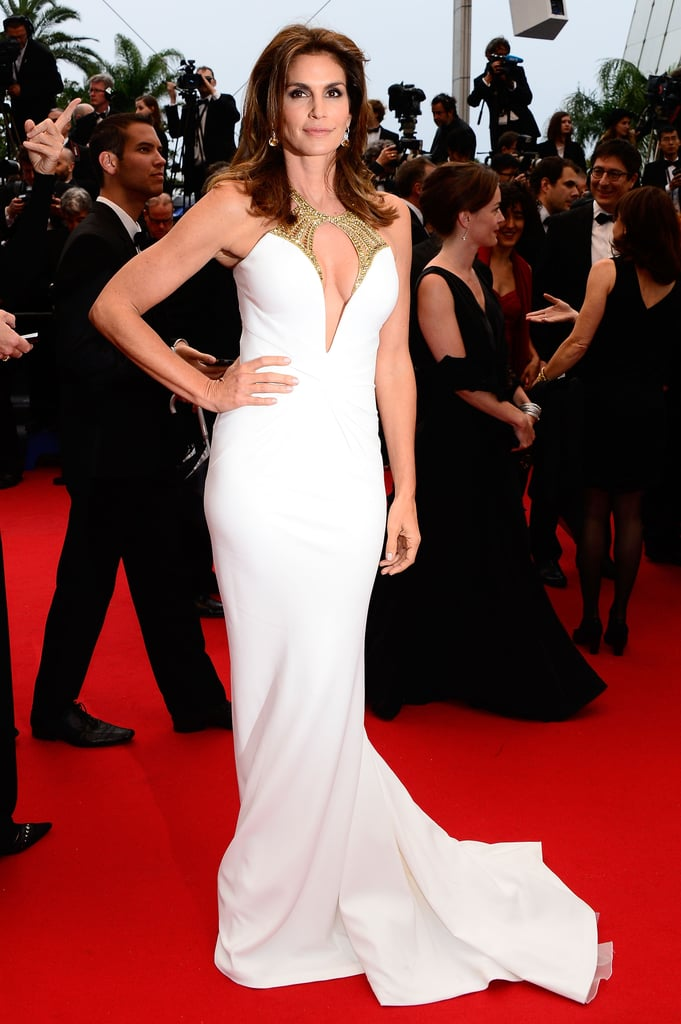 Cindy Crawford wore a stunning white Roberto Cavalli gown.