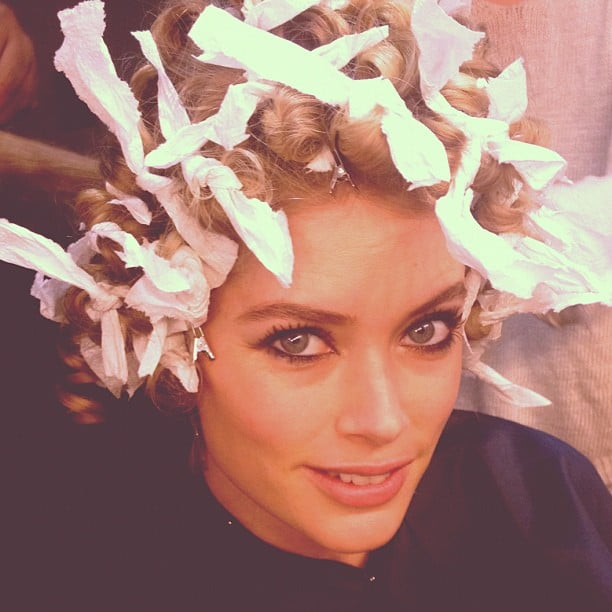 Doutzen Kroes went for curls the old-fashioned way — using bits of old rag! Source: Instagram user doutzenkroes1
