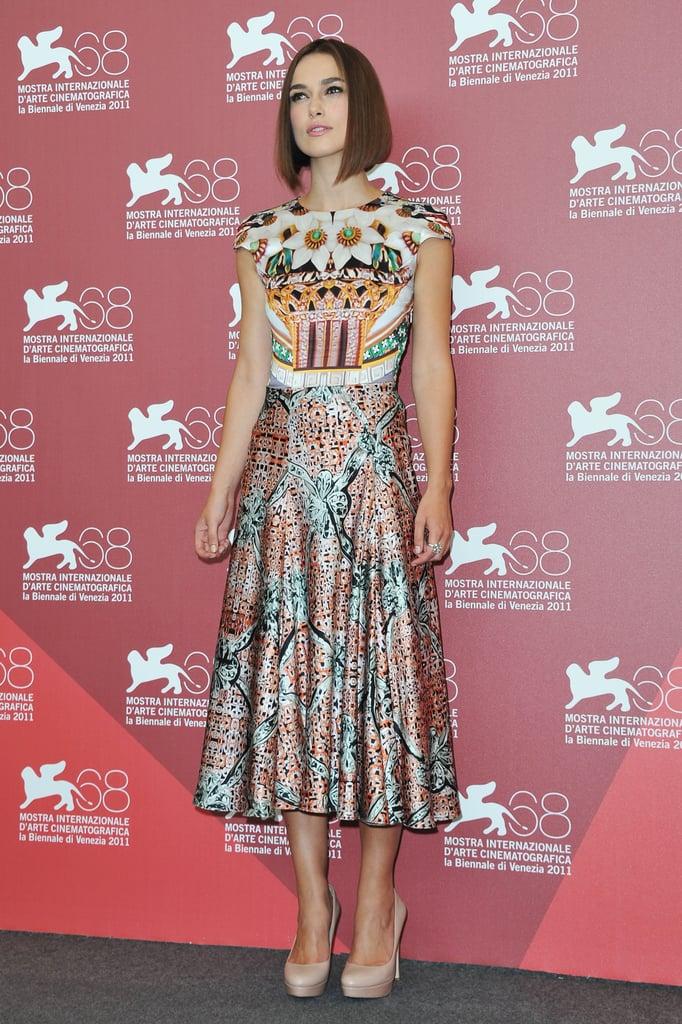 Keira Knightley wore a Mary Katrantzou dress at the Venice Film Festival.