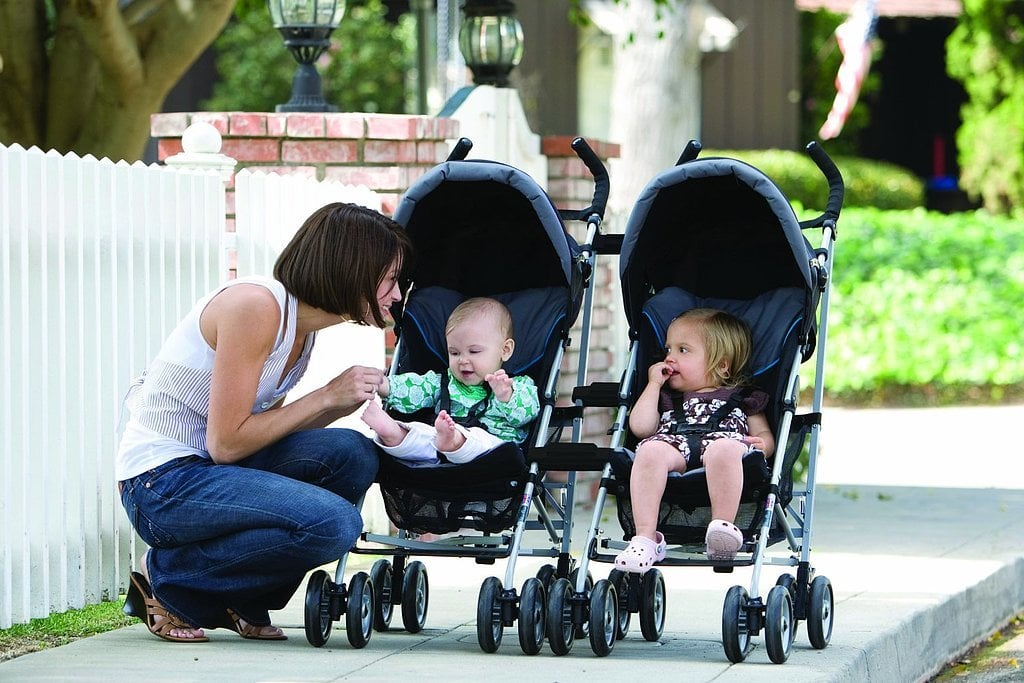 Attach strollers to make afternoon walks manageable.