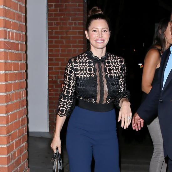 Jessica Biel Wearing Self Portrait Jumpsuit