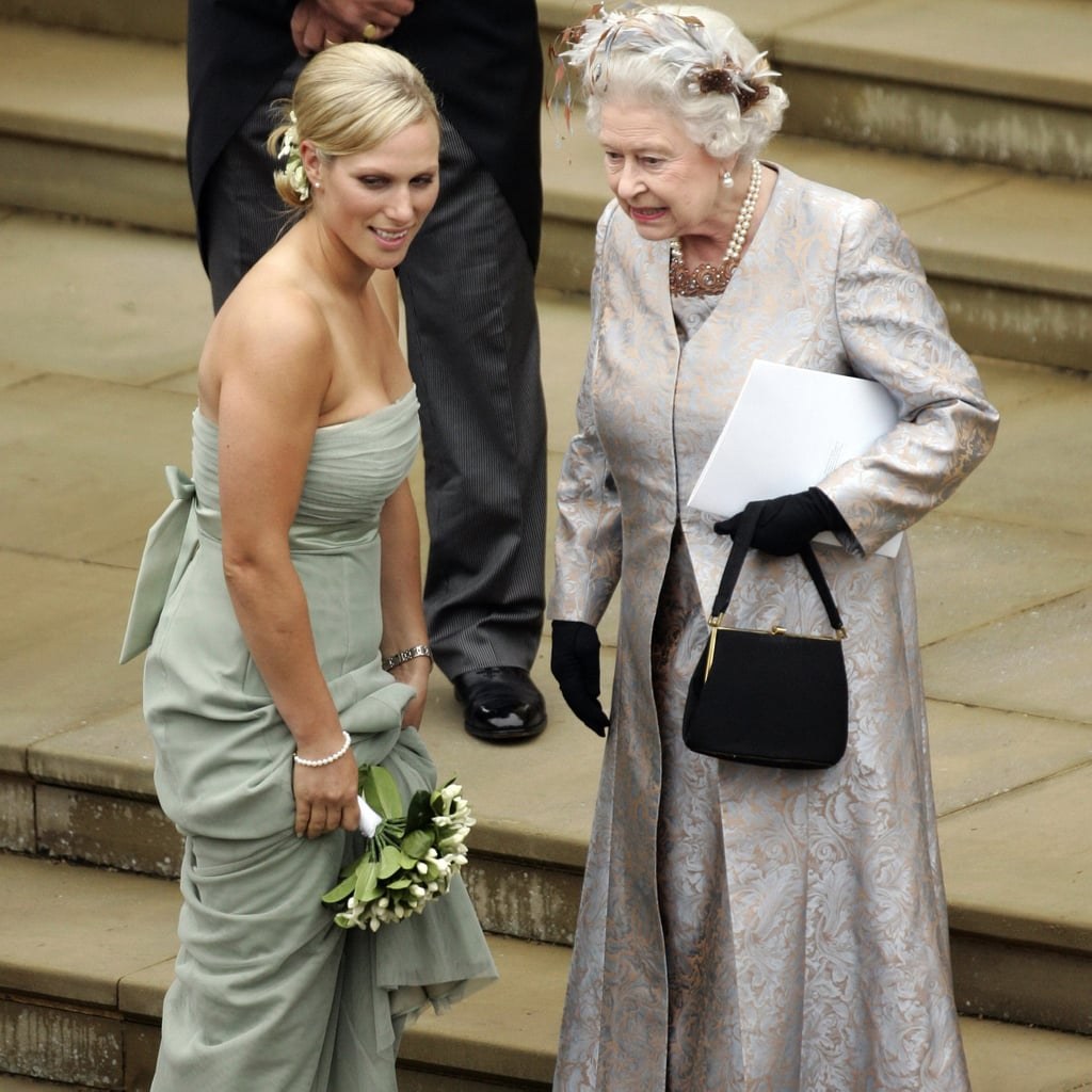 Zara chatted with her grandmother after the wedding of her brother, Peter Phillips, to Canadian Autumn Kelly. Check out the queen's fascinator!