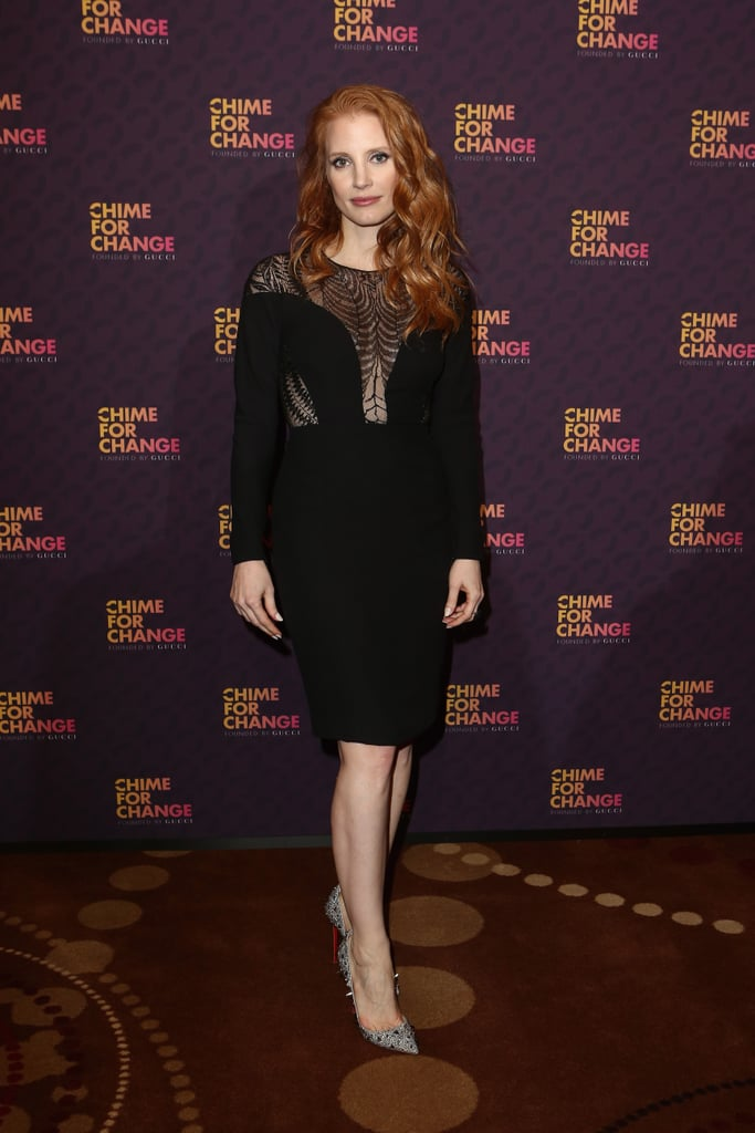 Jessica Chastain, in Gucci Fall 2013, at the Chime For Change: The Sound of Change Live concert, presented by Gucci, in London.