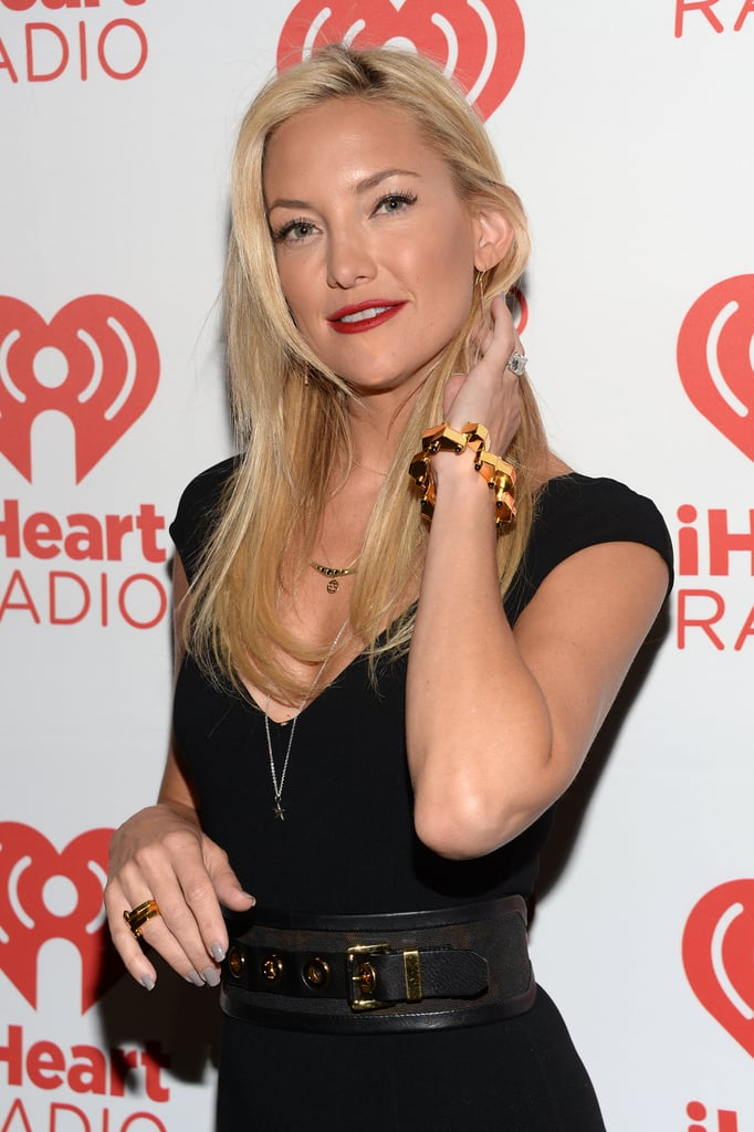Whenever an edgy feel is needed, a red lipstick will get you there, as Kate Hudson proved.