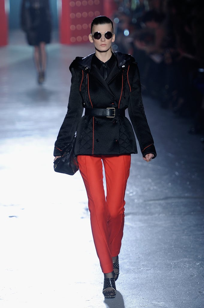 Jason Wu showed sharply tailored jackets with a military feel; this one is on the dressier side, and we love the crisp feel.