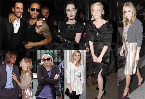 Photos of Kirsten Dunst, Kate Bosworth, Lenny Kravitz, Dita von Teese, Emma Watson at Paris Fashion Week