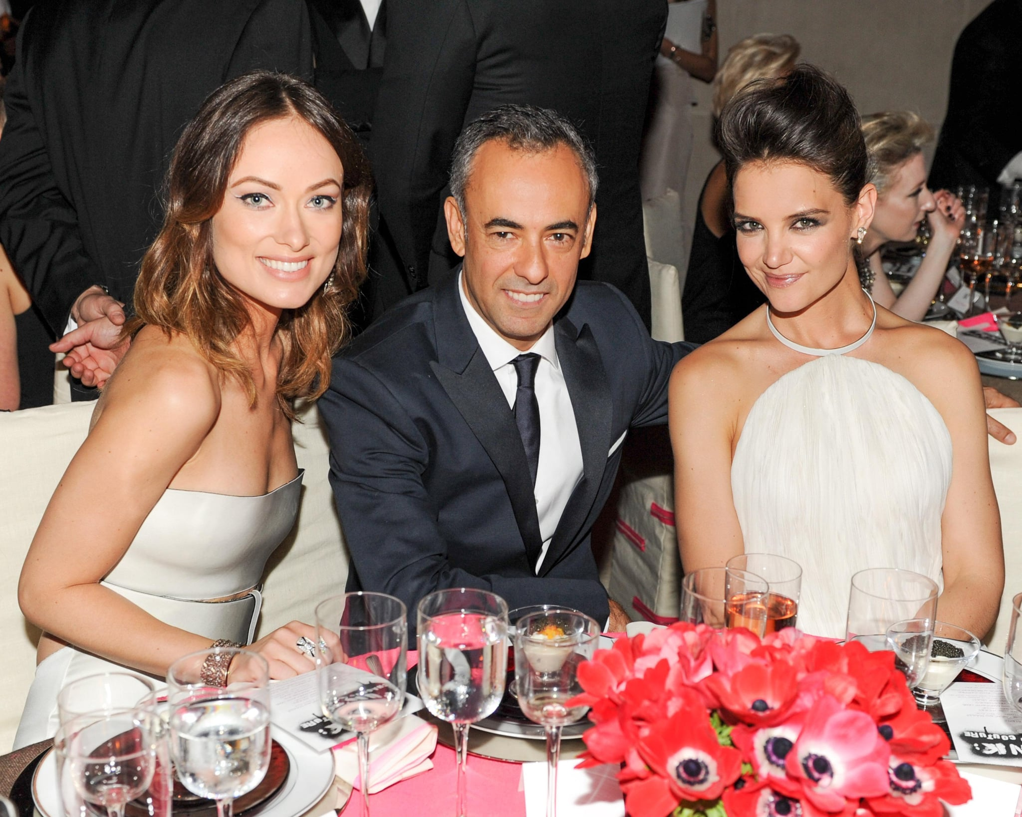 Designer Francisco Costa was sandwiched between Olivia Wilde and Katie Holmes at the Met Gala dinner.  Source: Billy Farrell/BFANYC.com