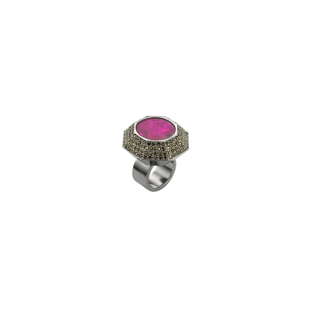 How beautiful is the pink stone on this Mawi pave ring ($605)?