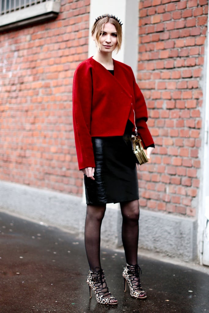 Zara's printed leopard lace-ups furthered the sexy vibe of a leather pencil skirt.
