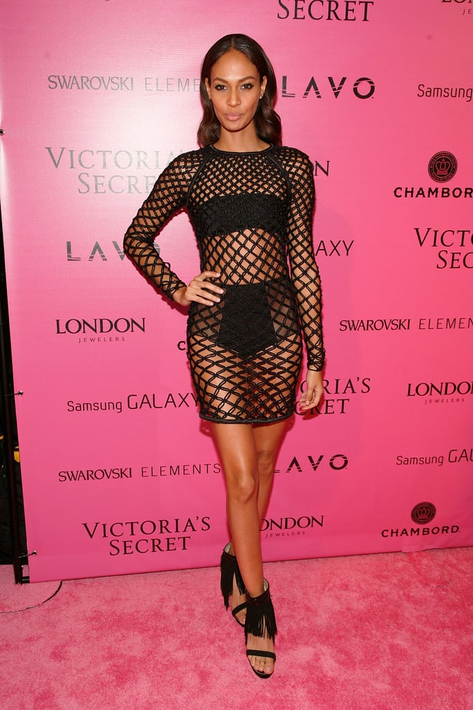 Joan Smalls left little to the imagination in a mesh mini and fringed heels.