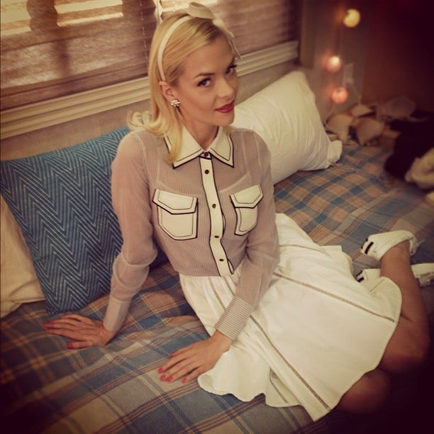 Jaime King showed off her sweet ensemble on the set of Hart of Dixie. Source: Instagram user jaime_king