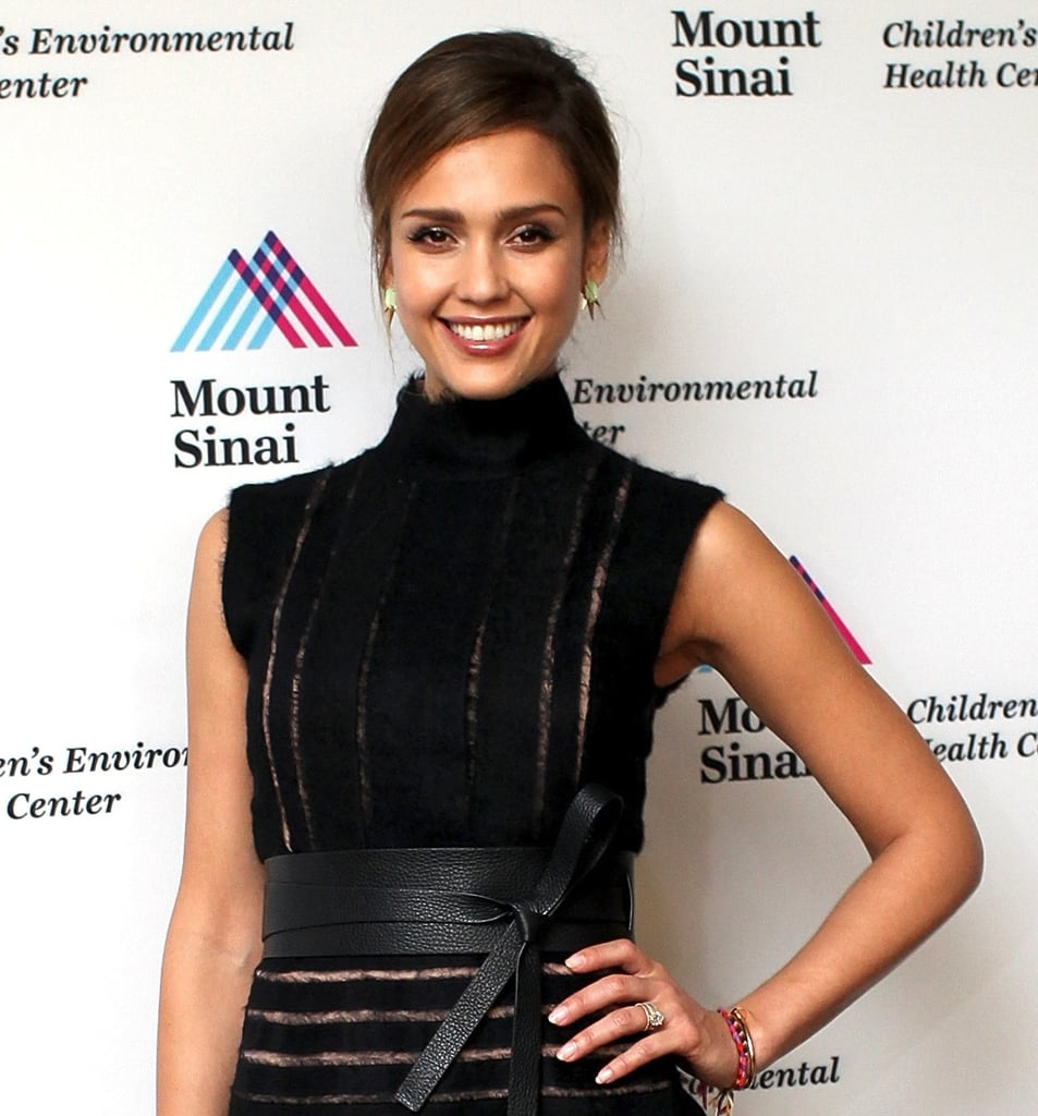 These Shopbevel grayed jade studs ($28) were a subtle yet stunning addition to Jessica Alba's little black dress at a charity dinner.