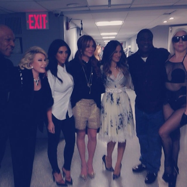 Kim Kardashian snapped a pic backstage from the first episode of The Tonight Show Starring Jimmy Fallon with Lady Gaga, Joan Rivers, Sarah Jessica Parker, Mike Tyson, Tracy Morgan, and Lindsay Lohan. Source: Instagram user kimkardashian