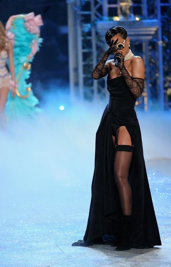 Rihanna performed in black on the runway.