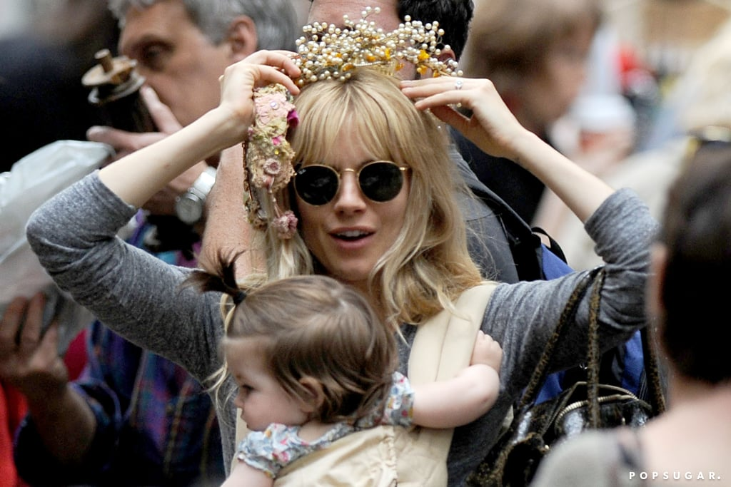 Sienna Miller went to a flea market with her daughter, Marlowe, in NYC.