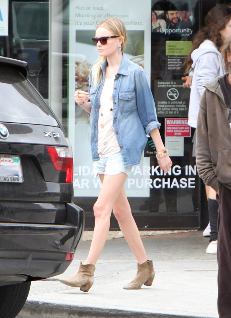 Kate Bosworth sported a denim top over an embellished Mulberry shirt with Current/Elliott shorts in LA. Then she completed her cool look with Isabel Marant booties and Westward Leaning shades.