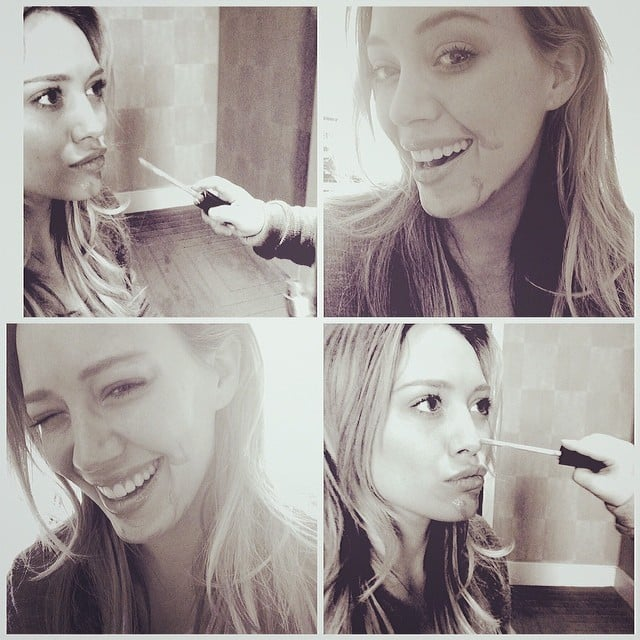 Hilary Duff shared this series of adorable snaps while her son, Luca Comrie, helped do her makeup. Source: Instagram user hilaryduff