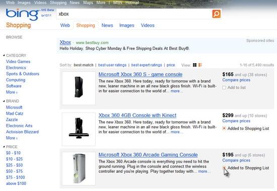 New Bing Shopping List