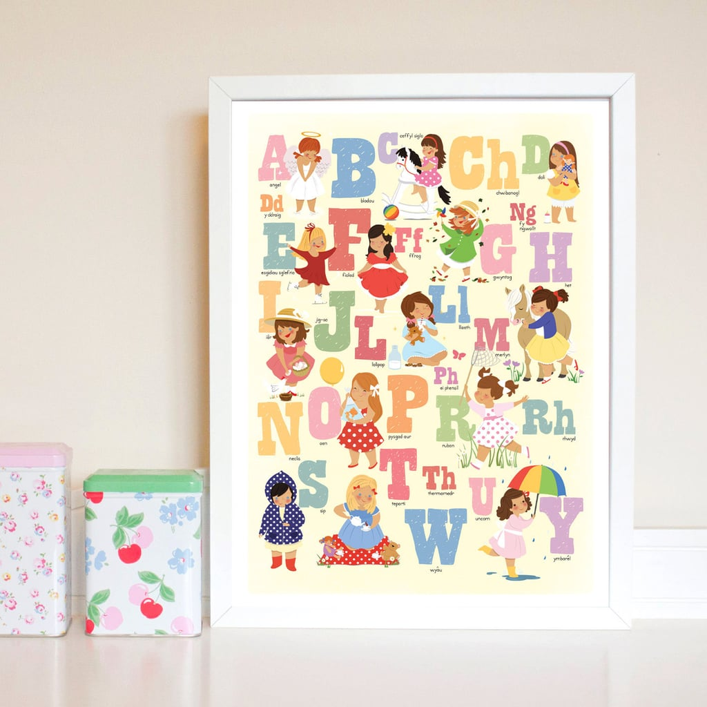 Welsh Alphabet Print For Girls