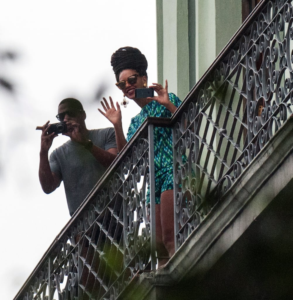 Beyoncé donned yet another printed ensemble while waving from her Havana hotel. Cat-eye sunglasses added a retro touch.