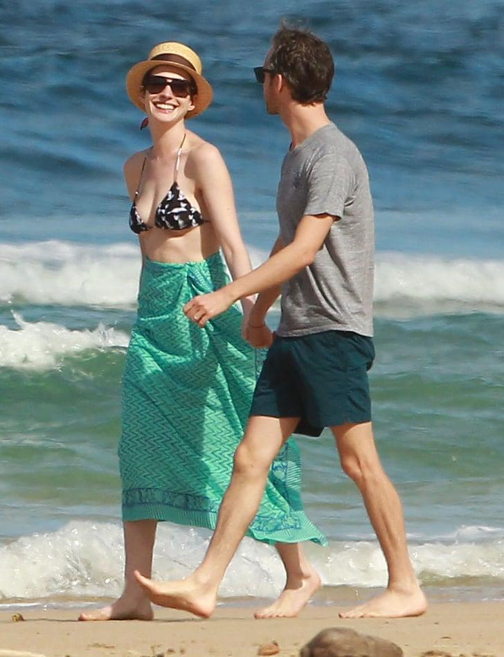 Hathaway accessorizes her bikini with a bandage popsugar celebrity