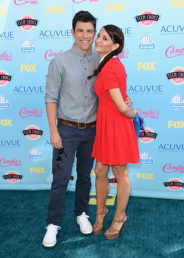 Max Greenfield and Tess Sanchez attended the 2013 Teen Choice Awards.