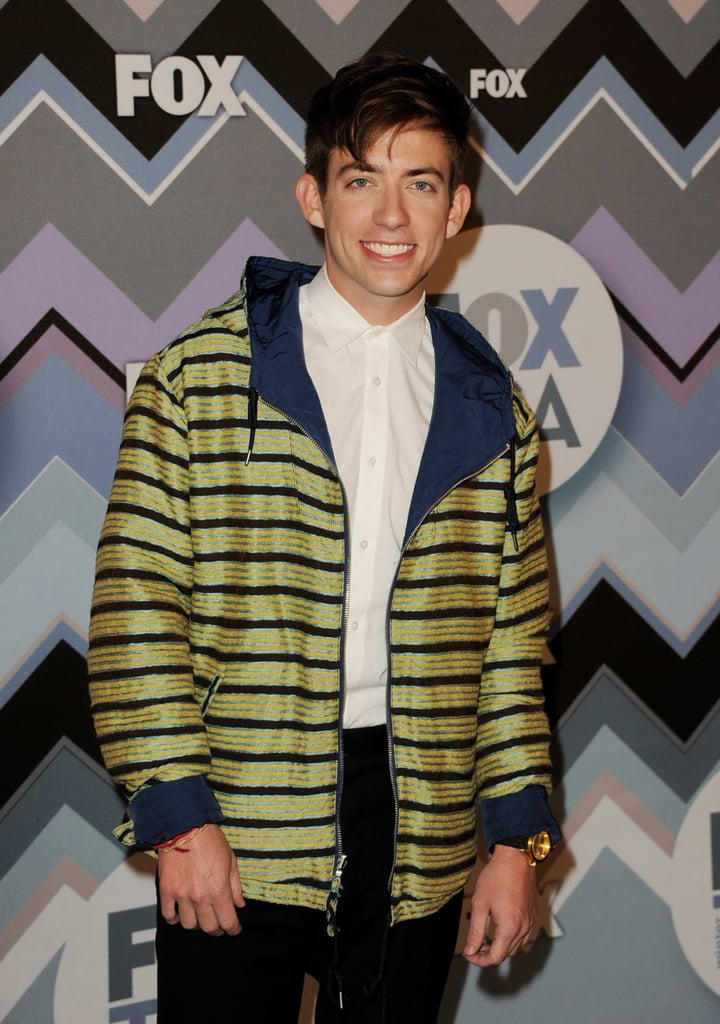Kevin McHale wore a striped jacket.