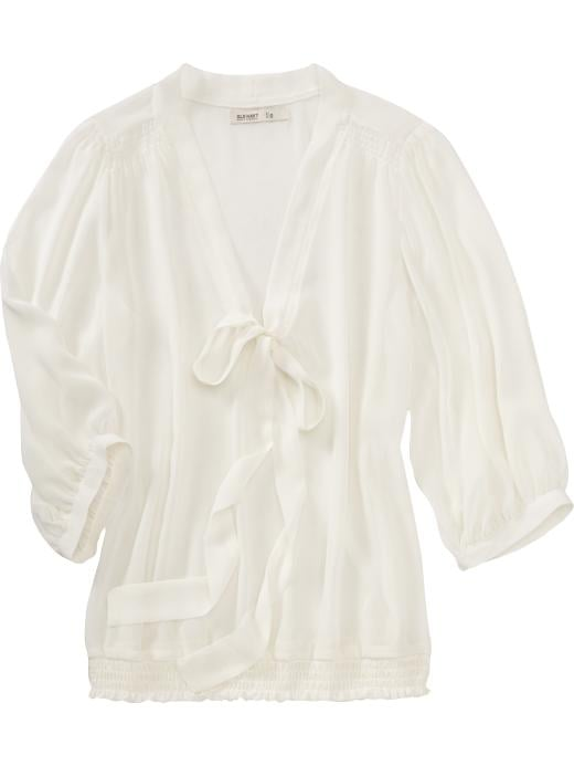 A sweet bow-tied blouse to top any look.   Old Navy Tie-neck Breezy Blouse ($15, originally $35)