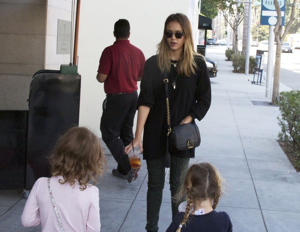 Jessica Alba took Honor and a friend out in LA.