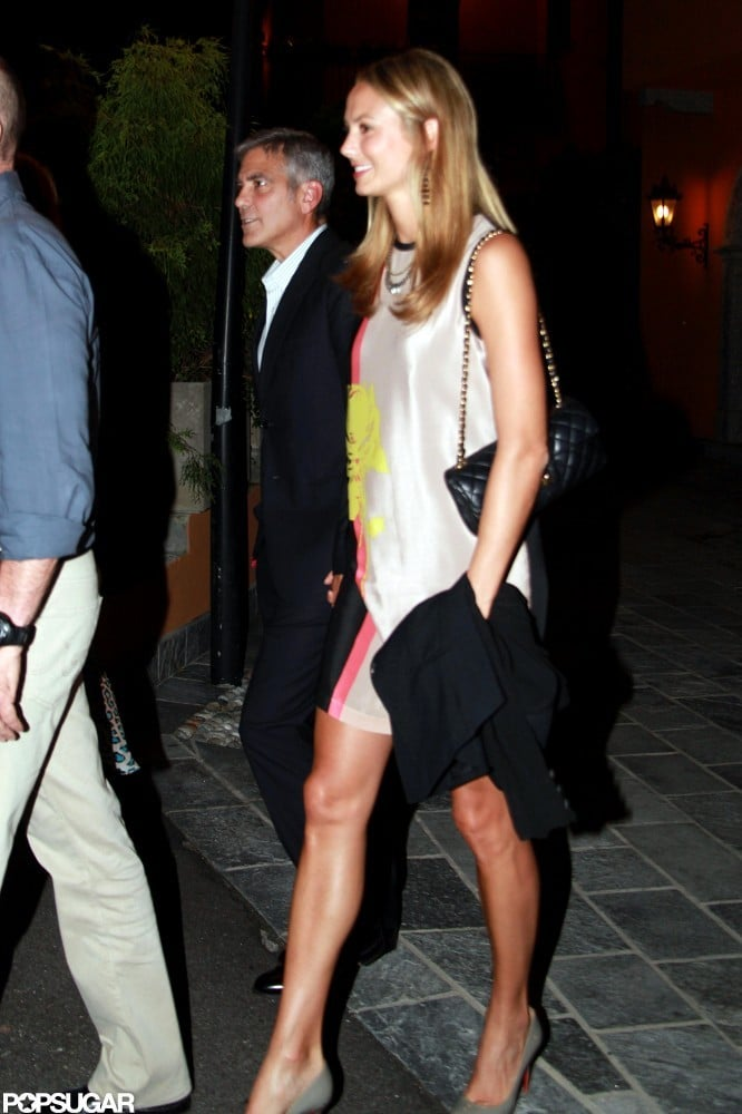 George Clooney and Stacy Keibler had a dinner date while visiting Lake Como in June.