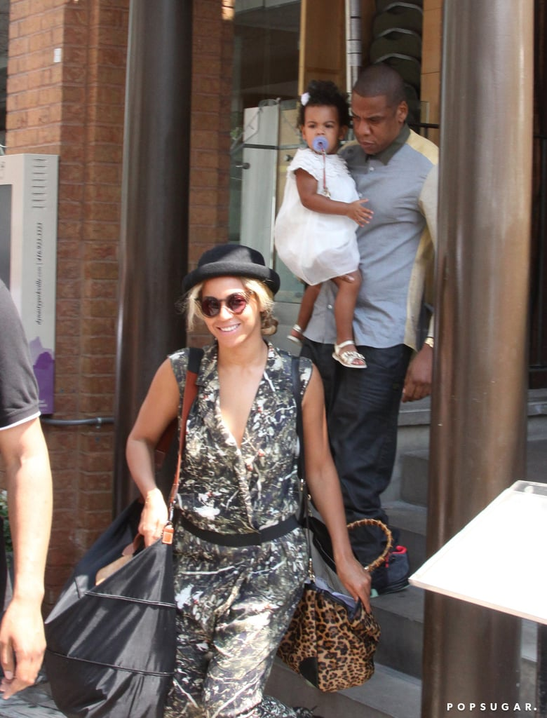 Beyoncé was all smiles when she stepped out with Blue Ivy Carter and Jay-Z.