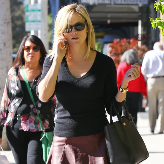 Reese Witherspoon Wearing Leather Skirt