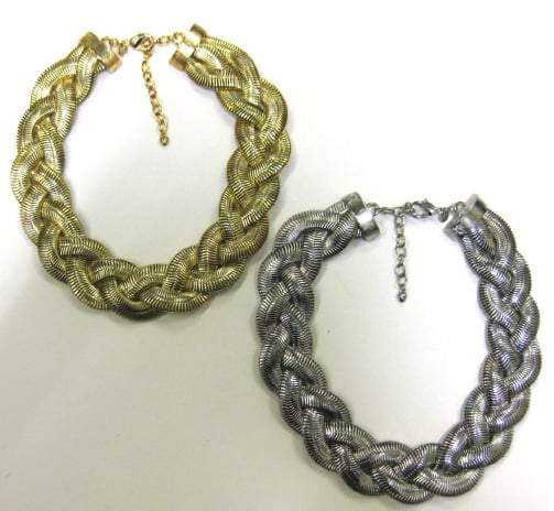 Modern Mixed Metal Braid Necklaces