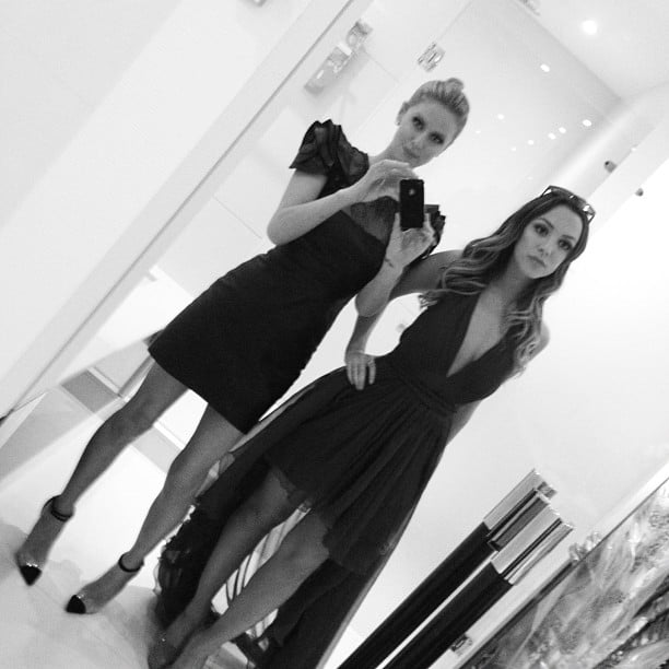Nicky Hilton and her cousin tried on outfits in front of the mirror.  Source: Instagram user nickyhilton