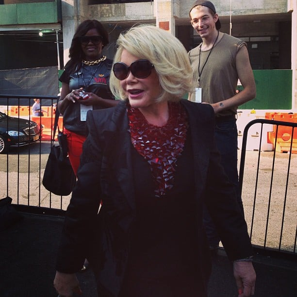 Look who we spotted strolling through the backstage area: Joan Rivers!