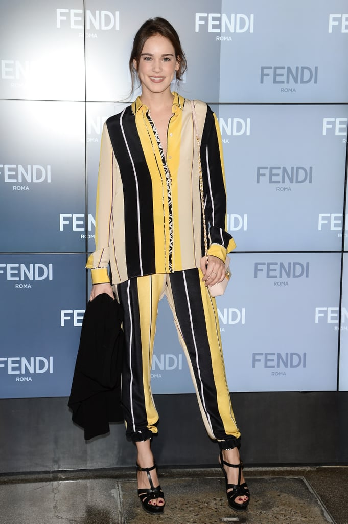At Milan Fashion Week, Matilda Anna Ingrid Lutz looked stylish and comfortable in a striped set at the Fendi show.