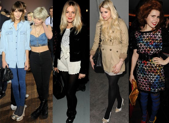 Photos of Celebs at Parties and in the Front Row at London Fashion Week 2010 Including Alexa Chung, Sienna Miller