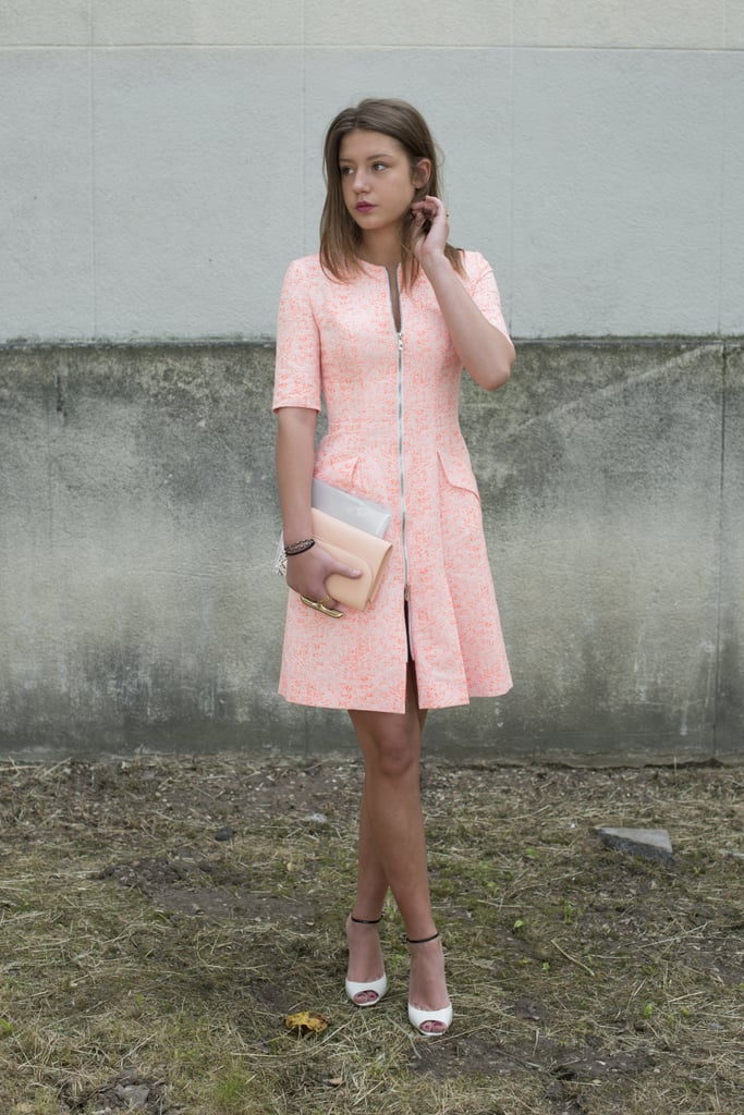 A classic dress is ready for Summer in faded neon orange.