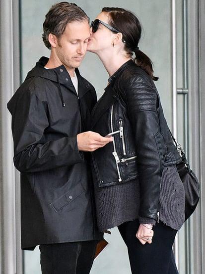 So Sweet! Mom-to-Be Anne Hathaway Plants Quick Kiss on Husband Adam Shulman