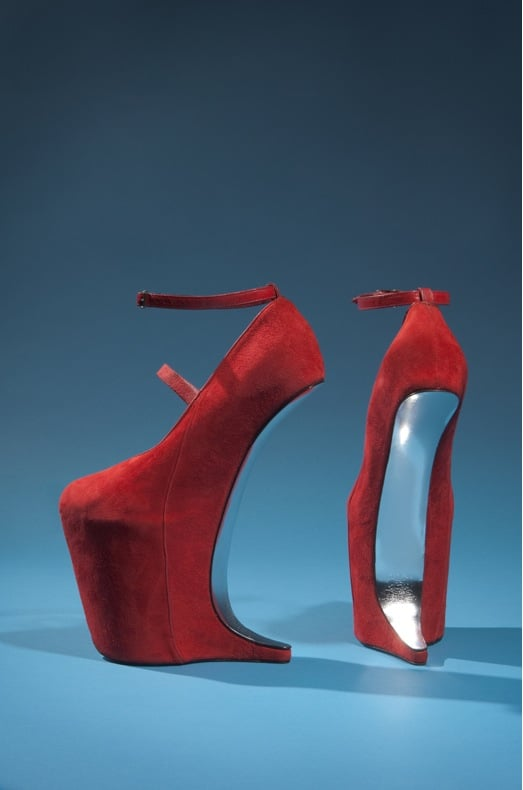 Red suede shoes by Nina Ricci
