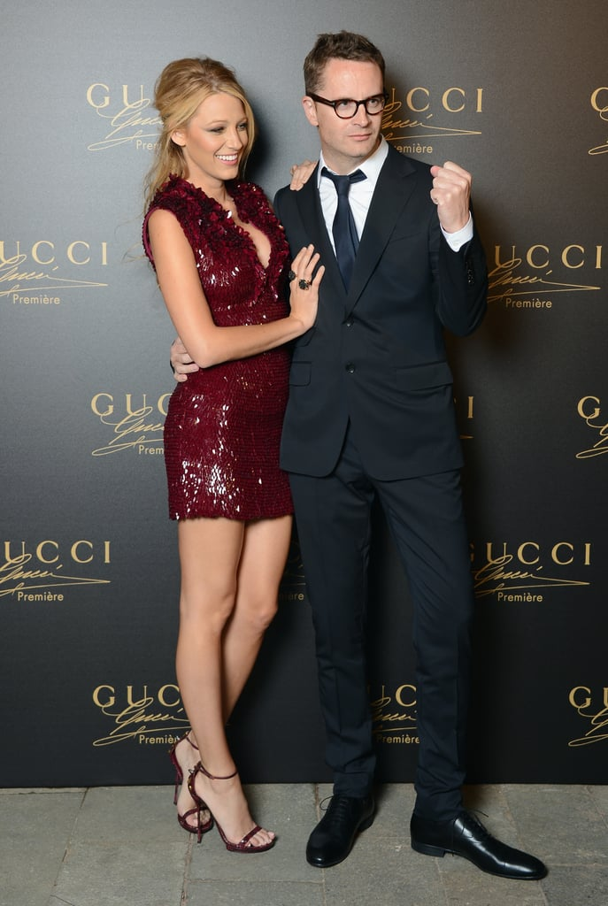 Blake Lively posed with Nicolas Winding Refn at the Gucci party.